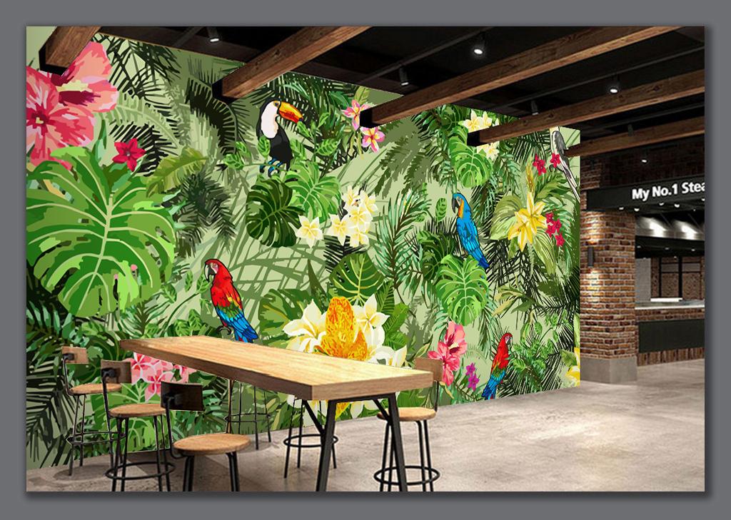 手绘鹦鹉热带雨林热带植物卡通背景墙