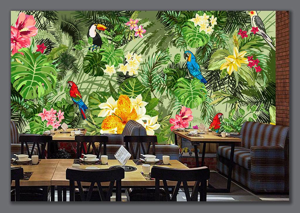 手绘卡通餐厅背景墙田园背景墙森林森林背景墙热带雨林植物热带雨林图