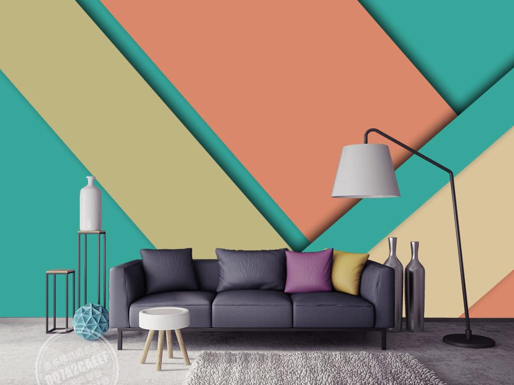 欧式抽象几何图案电视沙发背景墙
