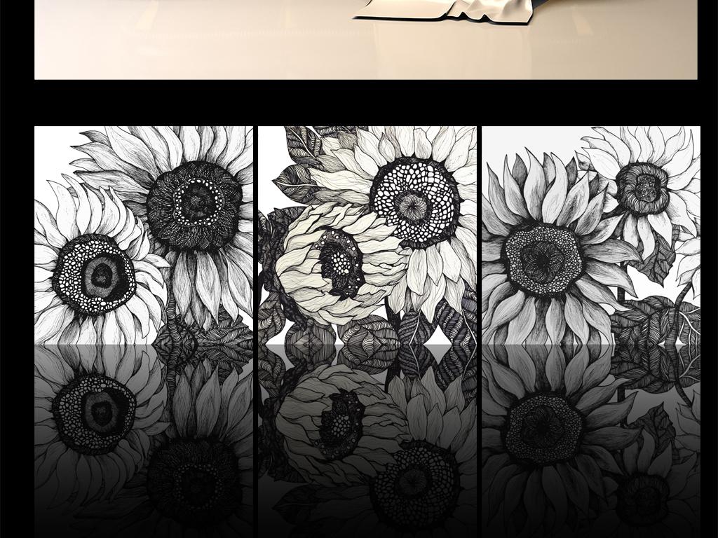 手绘素描写实向日葵装饰画(图片编号:15657842)_植物