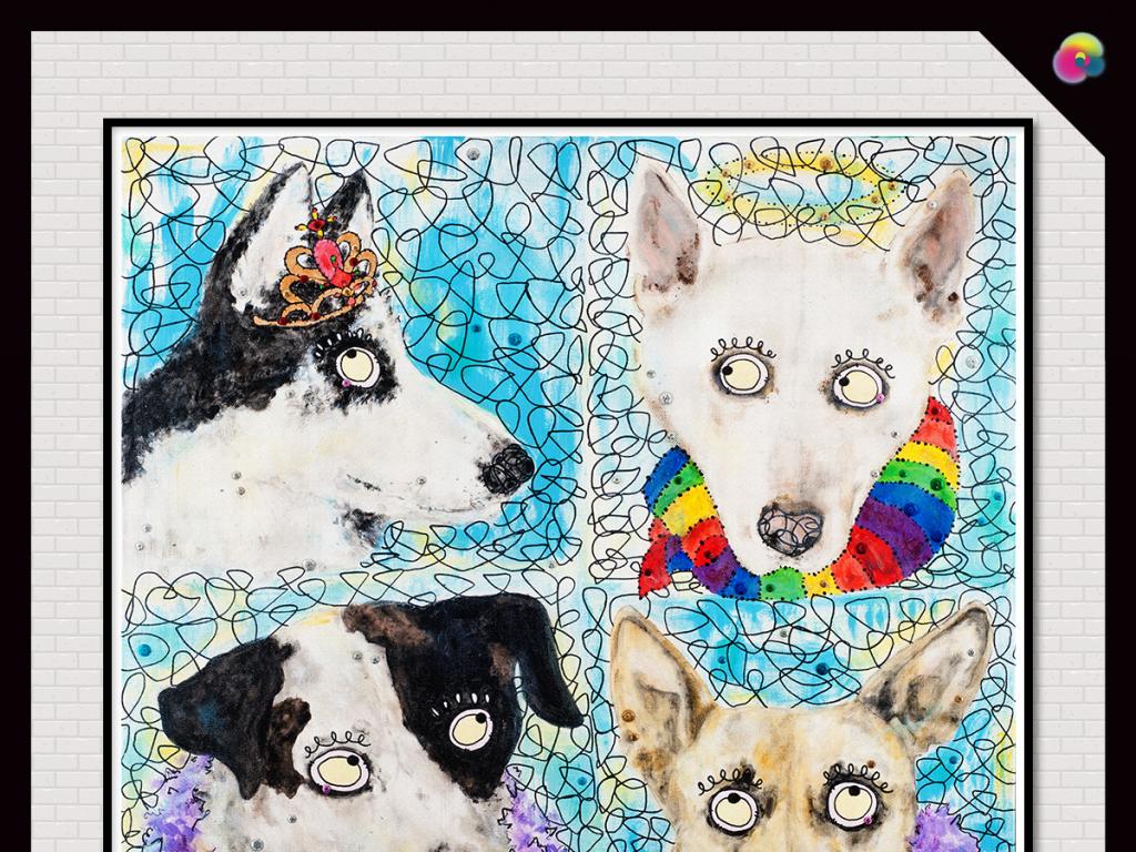 极简时尚动物儿童画抽象图案极简印花北欧无框画抽象画创意涂鸦