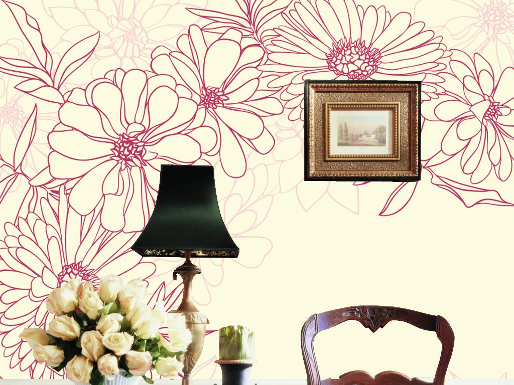手绘花纹时尚简约墙纸背景墙