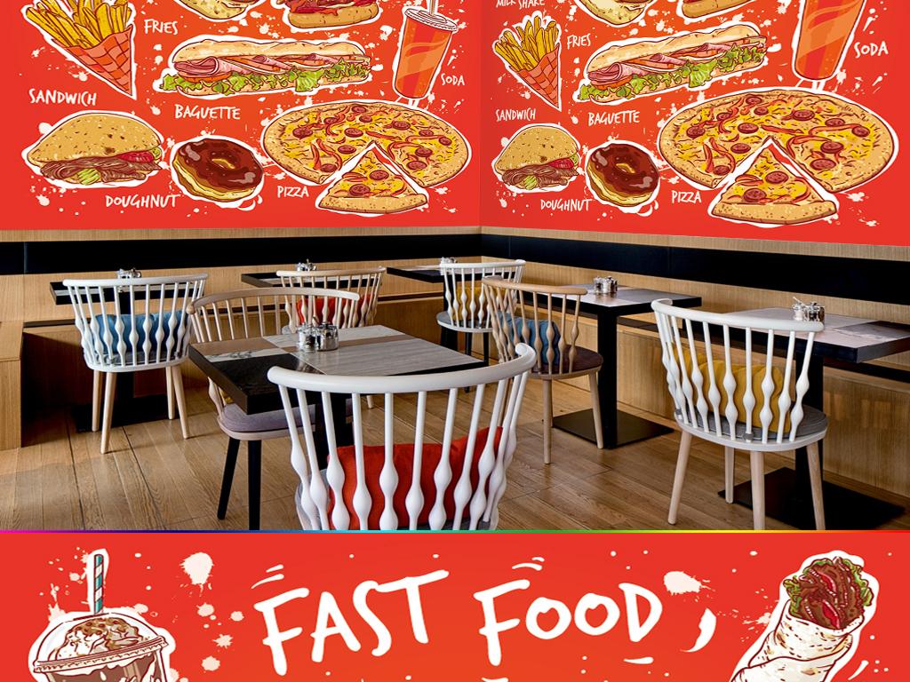 手绘卡通汉堡饭店西餐厅快餐厅壁画背景墙图片