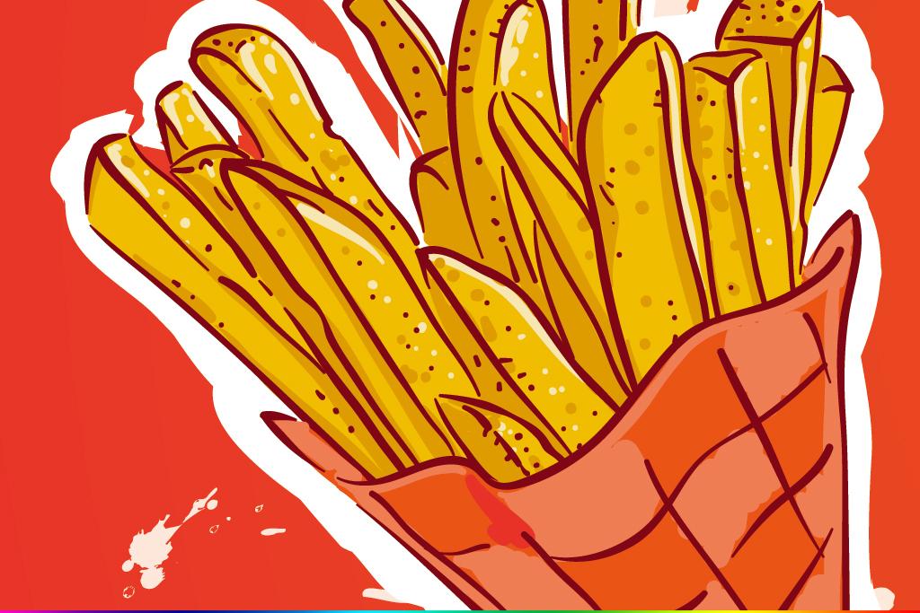 手绘马克笔薯条