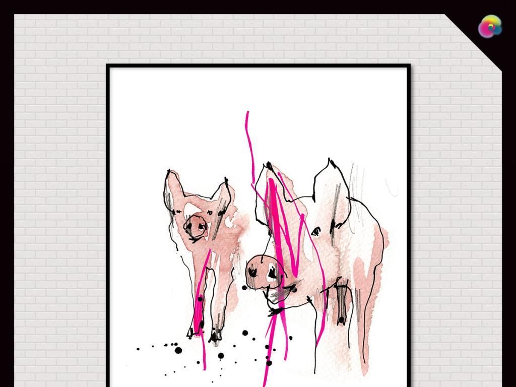 背景墙|装饰画 无框画 动物图案无框画 > 美克美家高清手绘写实动物