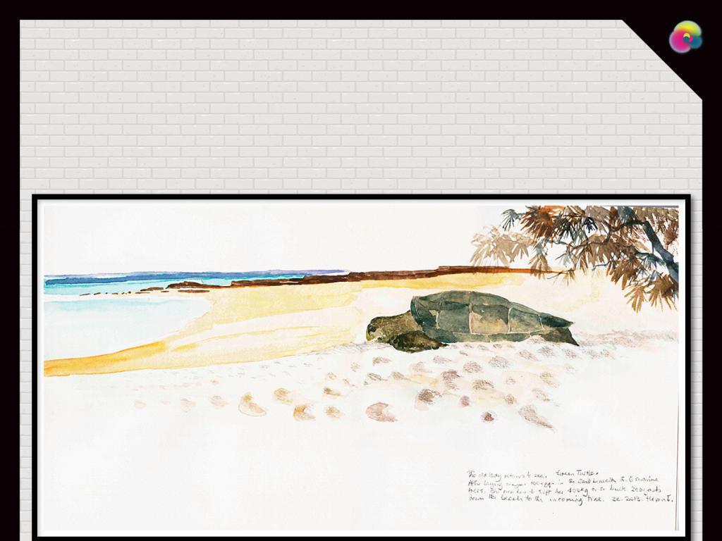 现代简约北欧抽象手绘风景油画电视背景墙