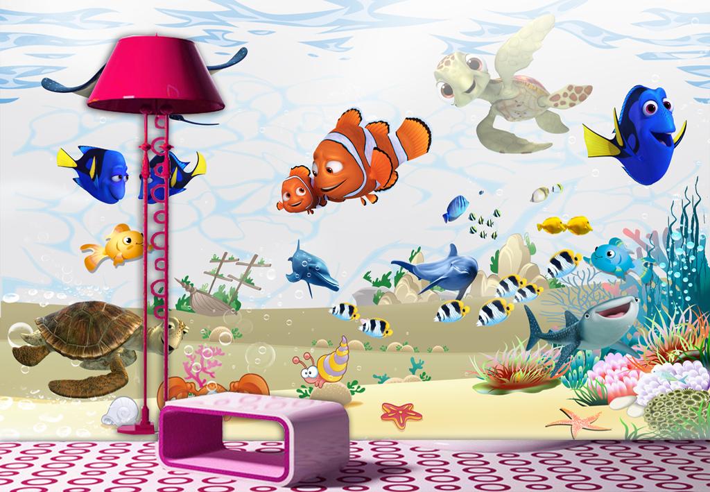 清新儿童房唯美儿童房海底世界背景墙