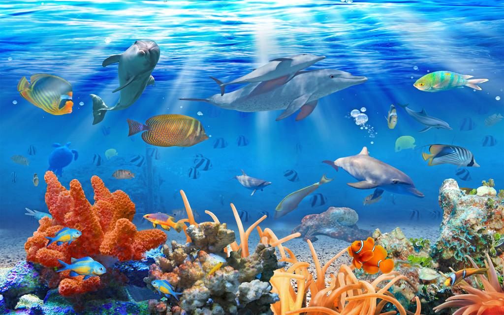 原创高清海底世界水底海豚背景墙