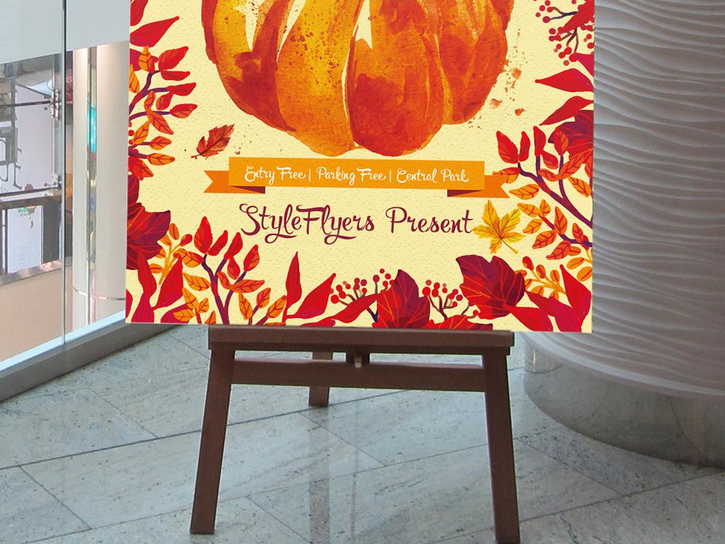 平面|广告设计 海报设计 海报设计|秋季海报 > 手绘水彩感恩金秋收获
