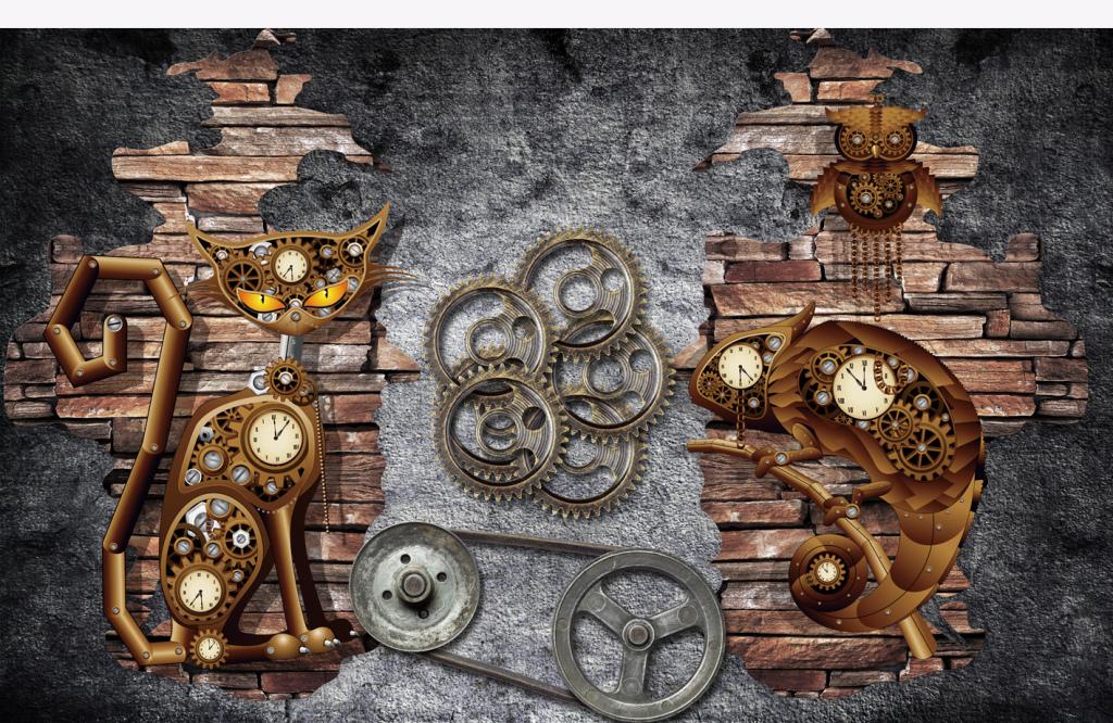 欧式复古机械猫齿轮背景墙