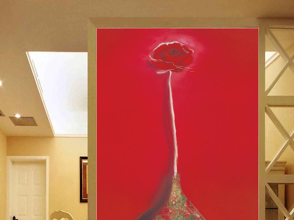 象大红色底简约一朵玫瑰图片