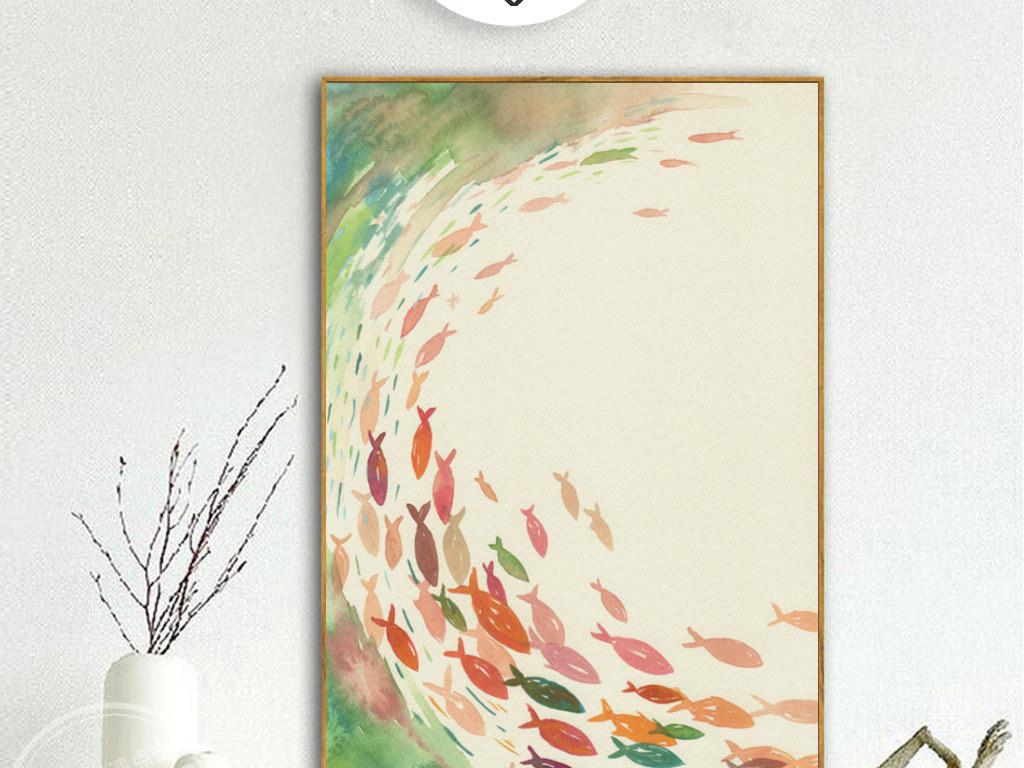 手绘彩色水墨千鱼无框画