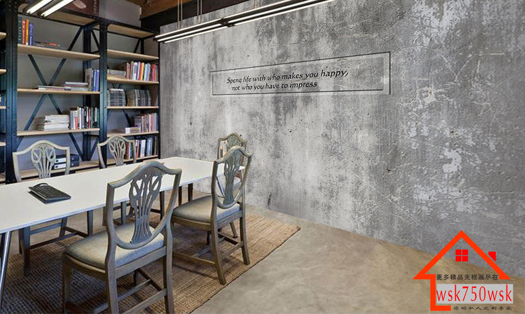 复古水泥墙励志标语酒吧餐厅工装背景墙