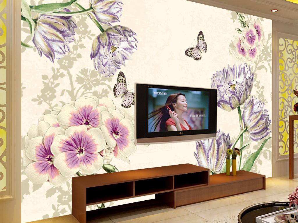 电视背景墙 现代简约电视背景墙 > 2016年手绘郁金香紫色小花欧式花纹