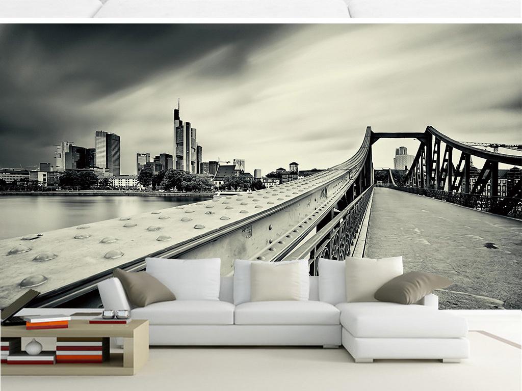 黑白大桥建筑壁画(图片编号:15661201)