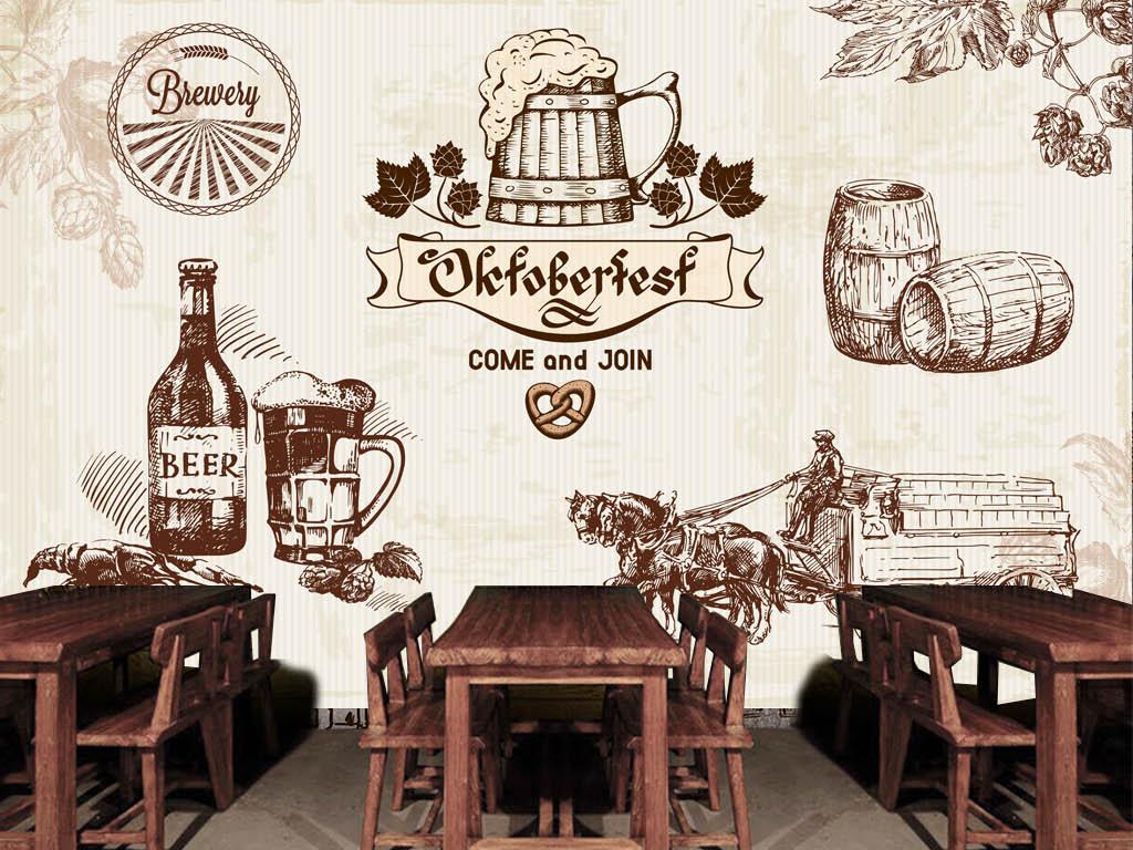 手绘啤酒ktv酒吧背景墙