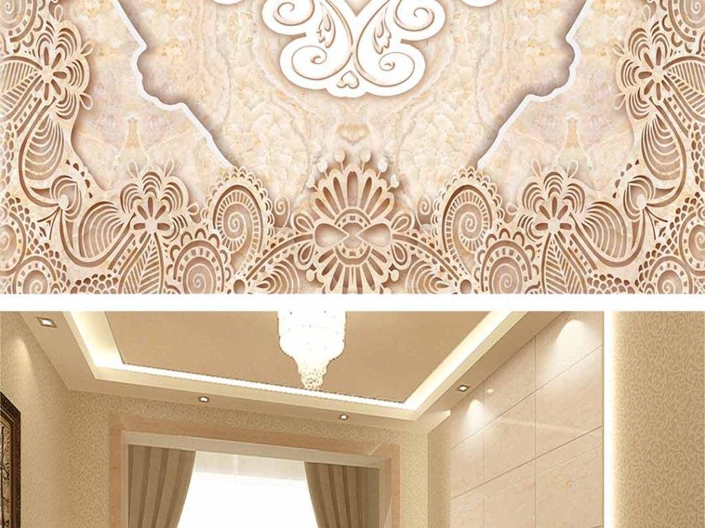 大理石拼花客厅地板砖3D地板