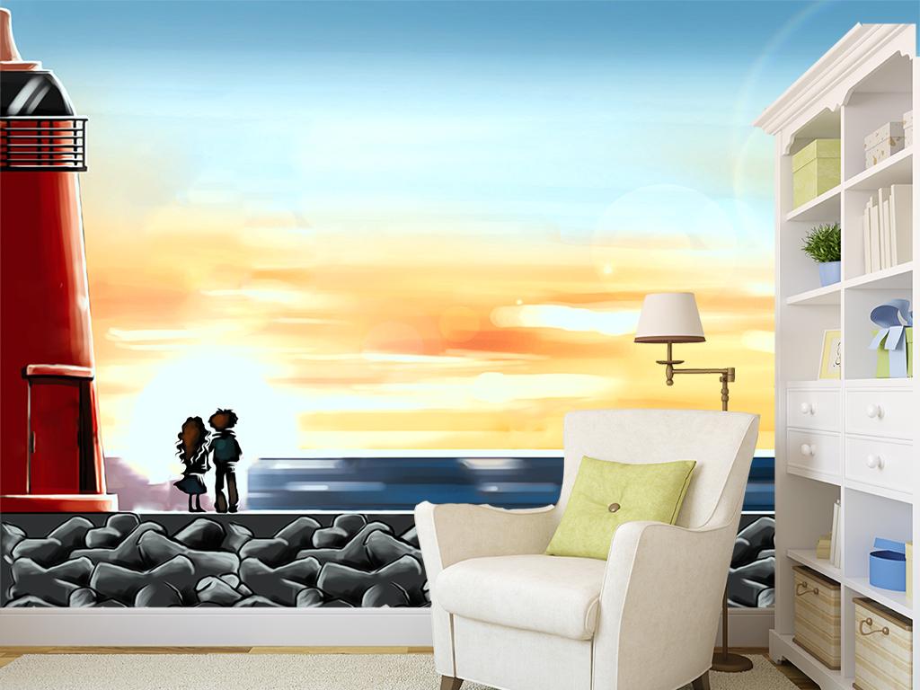 手绘油画海边灯塔工装沙发电视背景墙