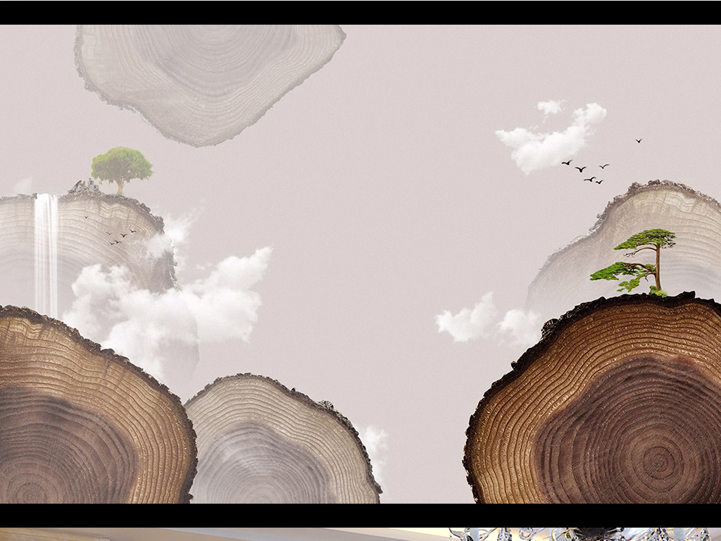 电视背景墙 手绘电视背景墙 > 新款北欧极简风格树木年轮树林黑白背景
