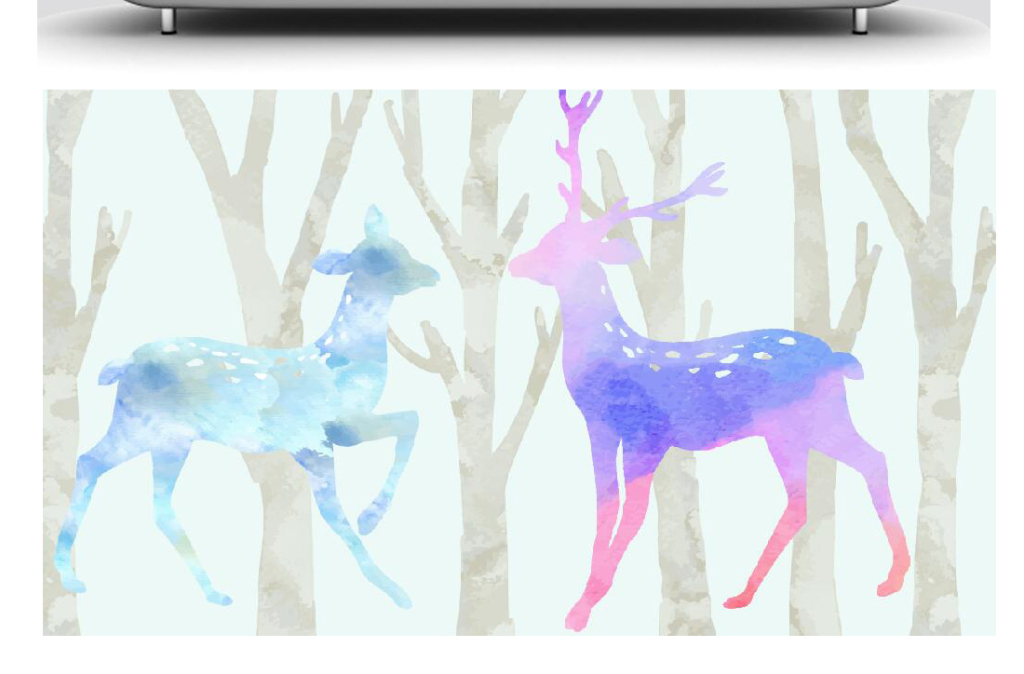唯美欧式水彩画森林麋鹿无框画
