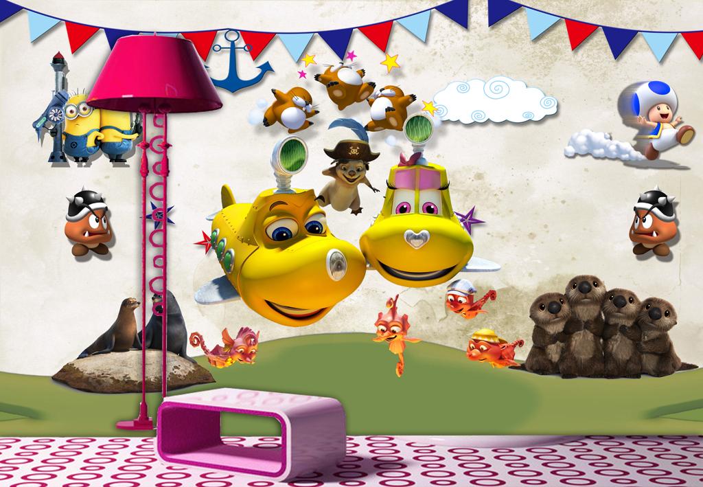 床头背景个性儿童房3d卡通墙画装饰画壁画动物总动员