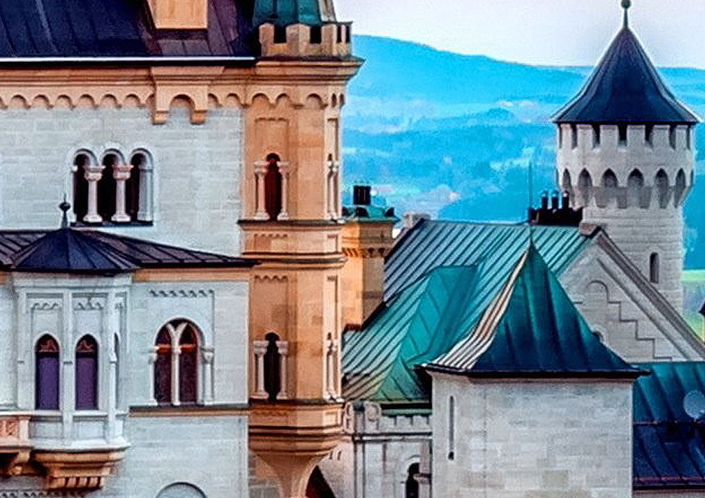 高清德国新天鹅堡城堡背景墙装饰画