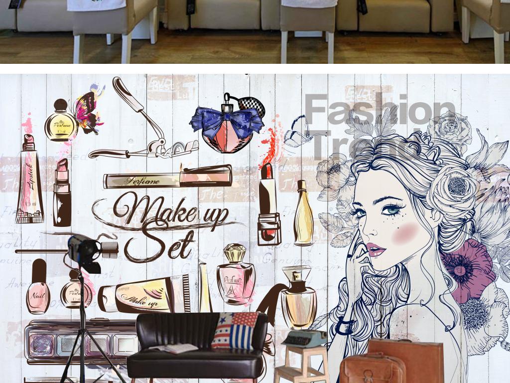 美甲店美容店手绘女孩服装店背景墙装饰画