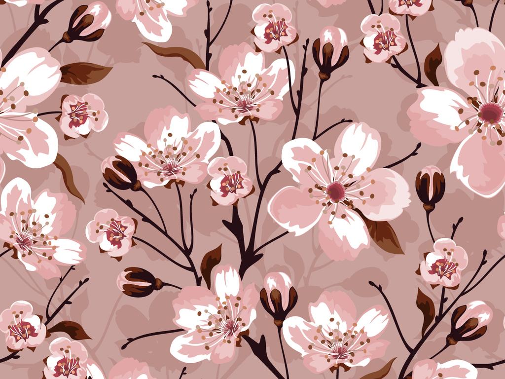 eps)手绘桃花墙纸桃花墙纸复古花朵墙纸