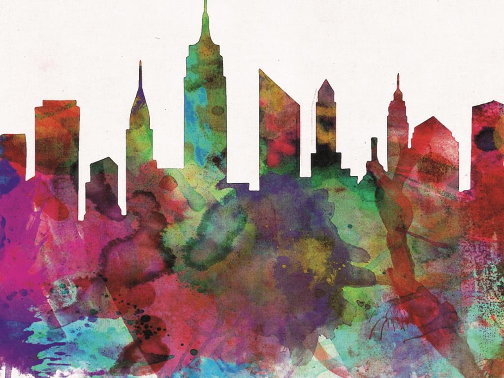 手绘彩色欧美城市