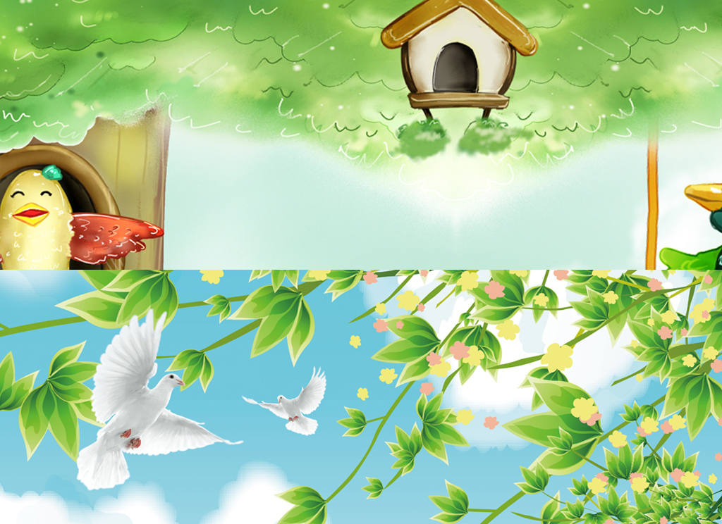 小鸟人物手绘背景墙热气球鸽子快乐树林树林梦幻清新背景梦幻背景树林