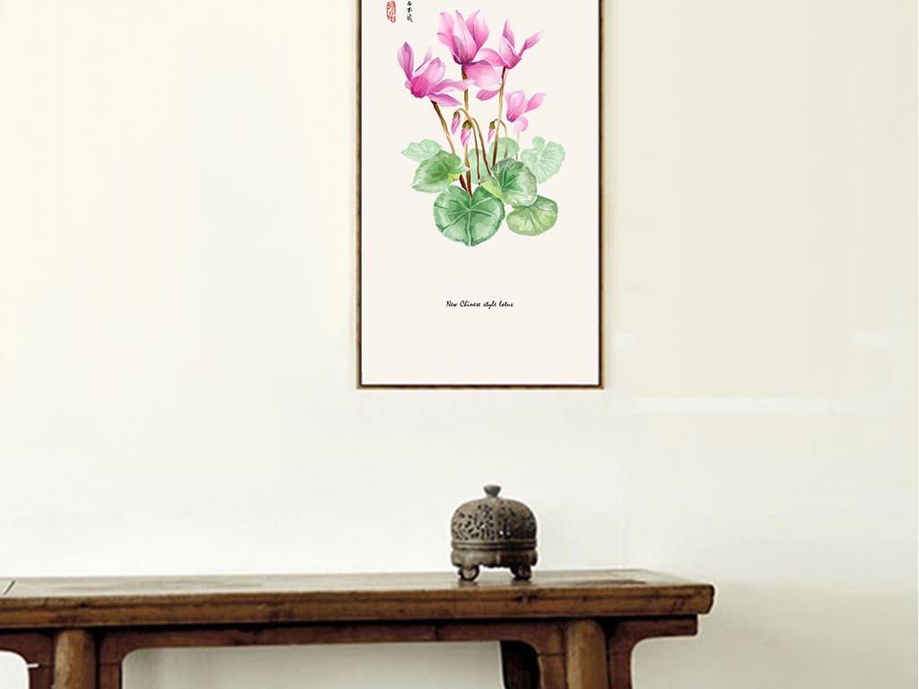 新中式手绘花卉系列高清无框画禅意写意
