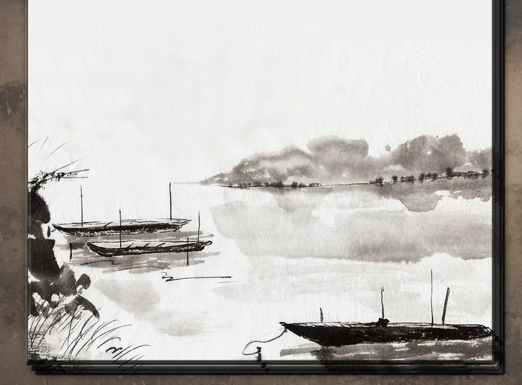 信纸复古信纸中国风信纸信纸下载山水画信纸图片