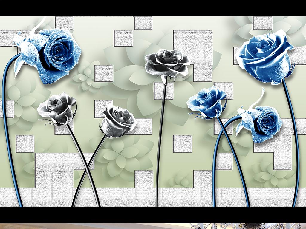 3d立体紫色玫瑰黑白玫瑰花卉背景墙