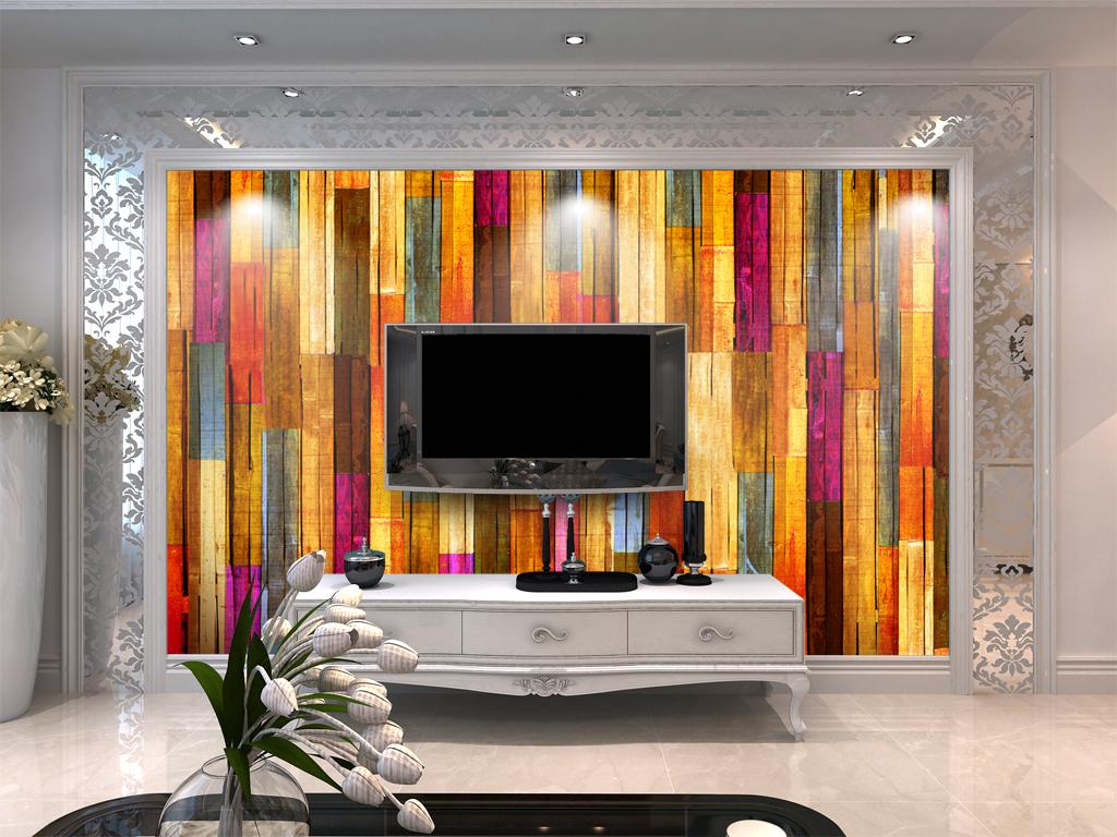 现代简约五彩木条壁画背景墙图片