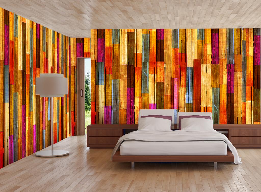 背景墙|装饰画 电视背景墙 现代简约电视背景墙 > 现代简约五彩木条壁