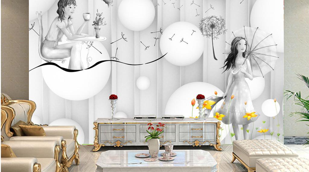 立体波波球3d手绘少女背景墙壁画装饰画