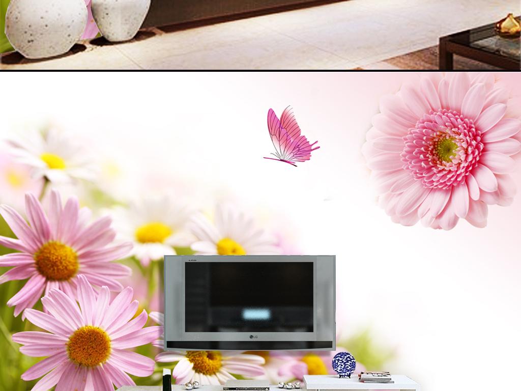 高清温馨太阳花电视背景墙