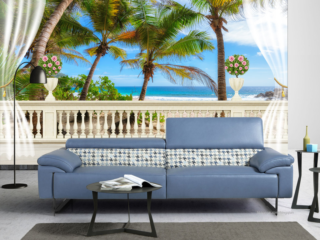欧式阳台椰树海景背景墙图片