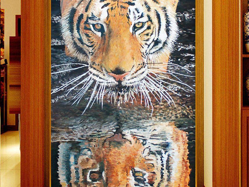 手绘油画老虎狮子动物装饰画玄关