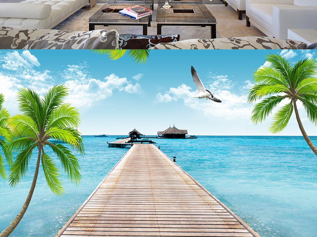 3d立体海边风景椰树沙发电视背景墙