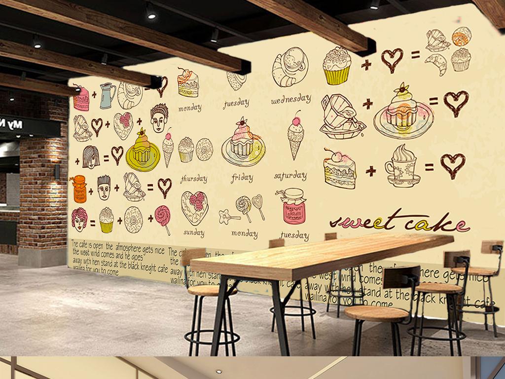 高清手绘欧式蛋糕甜点咖啡屋工装背景墙
