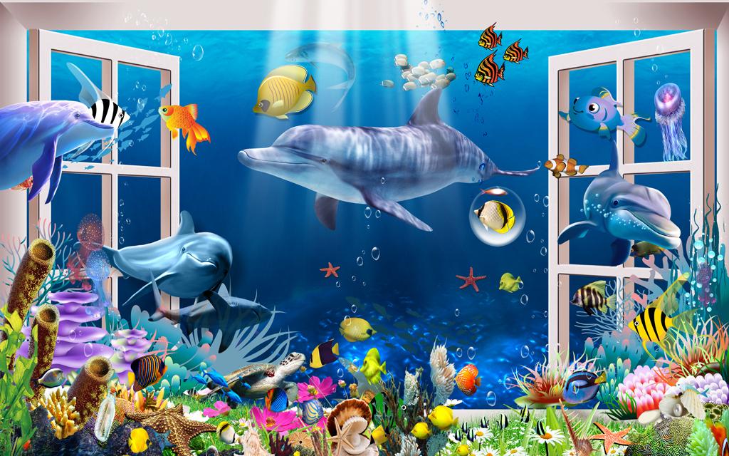 3d窗外风景海底世界时尚背景墙
