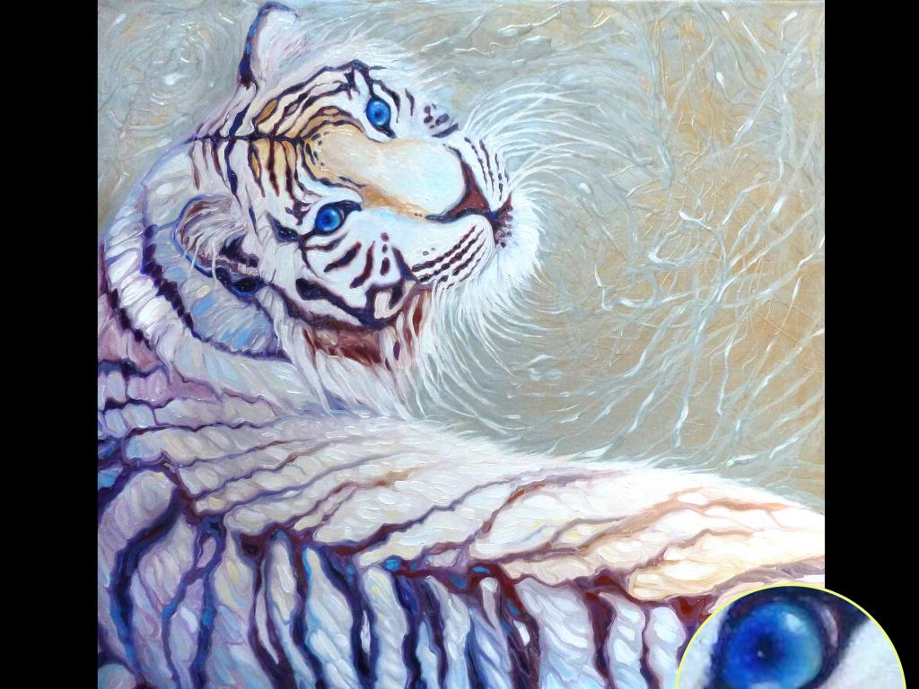 手绘油画老虎狮子动物装饰画背景墙