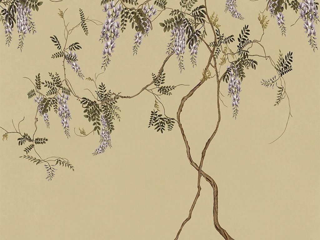 中式电视背景墙 > 新中式中国风手绘工笔紫藤紫藤藤萝紫色花  版权