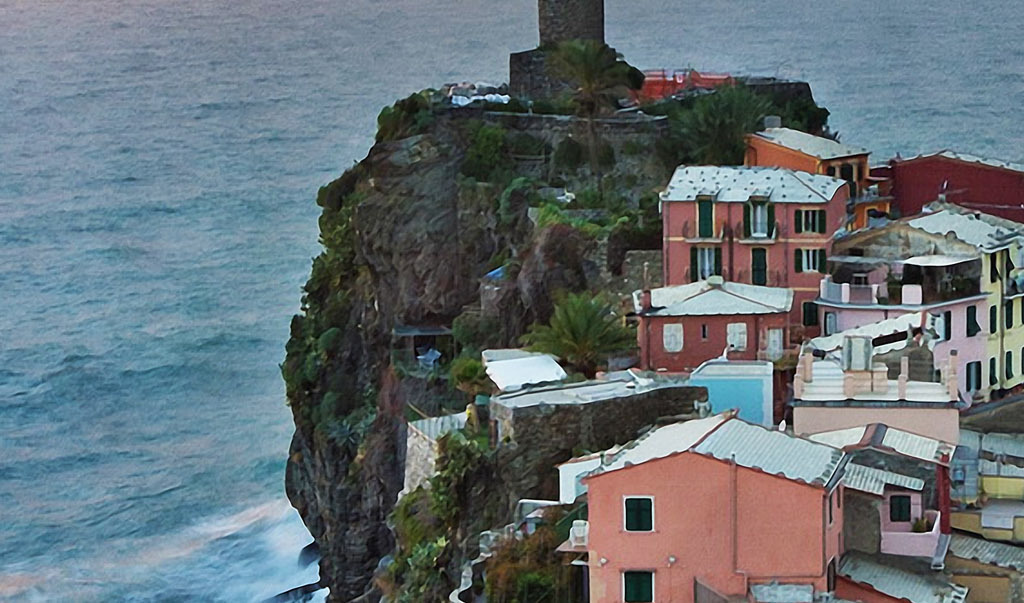 意大利海边小镇日出风景裸眼3d风景背景墙
