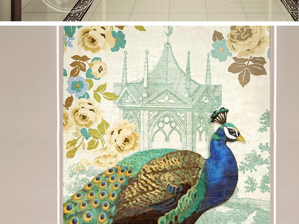 欧式手绘蓝孔雀玄关背景墙