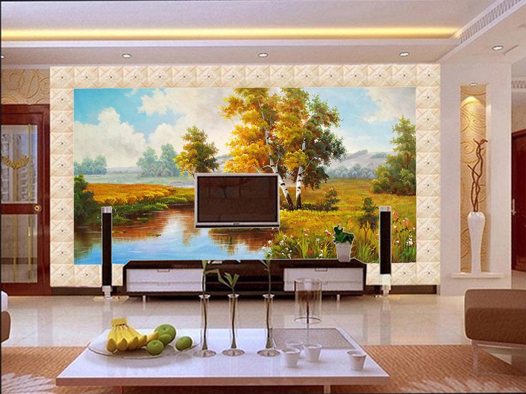 瓷砖背景墙浮雕背景墙墙画无缝壁画许愿树发财树边边纹边条木边边框图