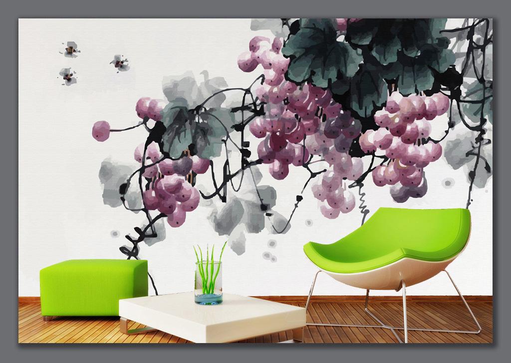 手绘水墨葡萄背景墙