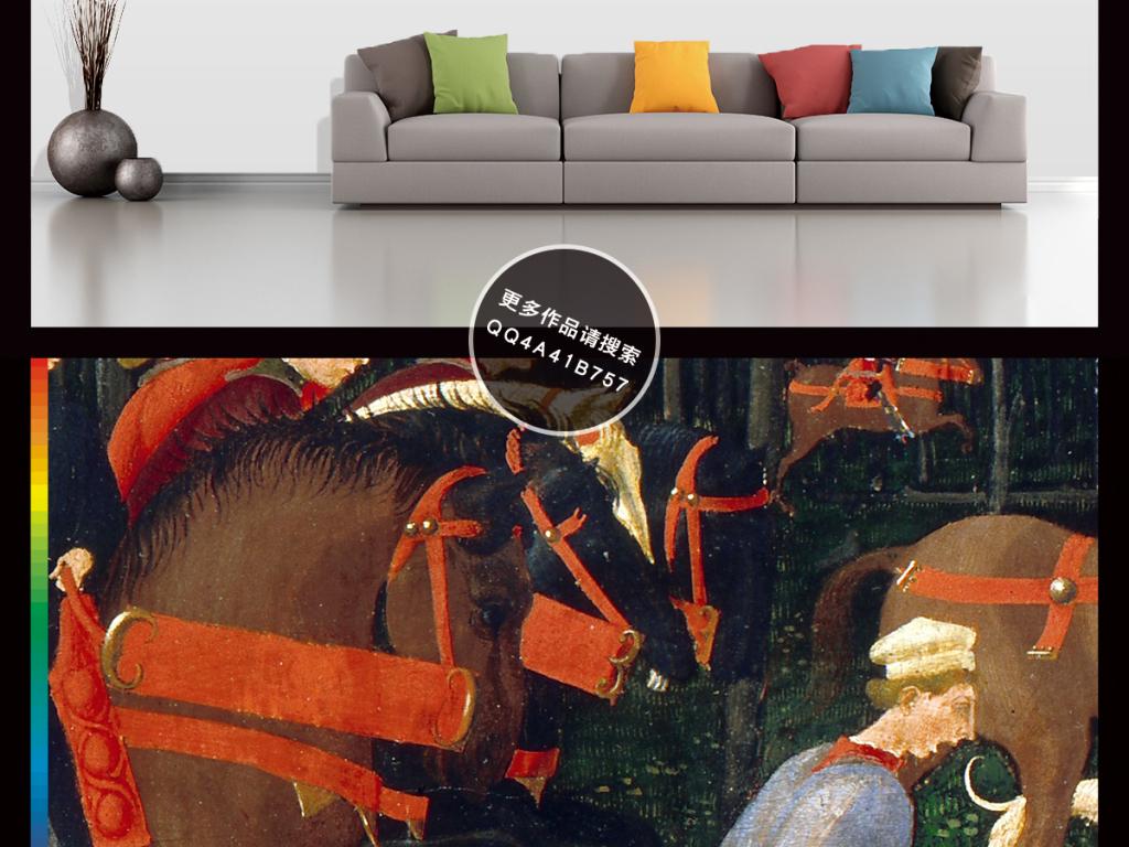 背景墙|装饰画 油画 风景油画 > 欧式美式中世纪贵族狩猎出行复古怀图片