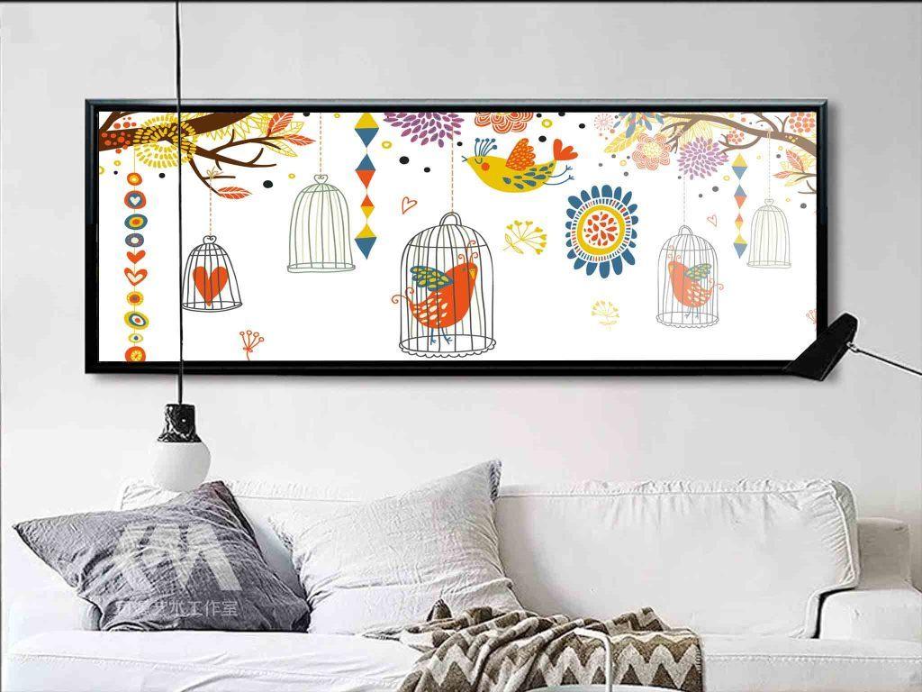 背景墙|装饰画 无框画 动物图案无框画 > 北欧现代简约卡通鸟树枝床头